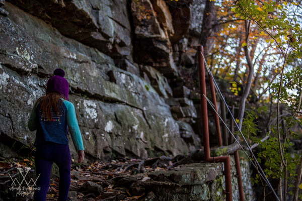 little girl hiking