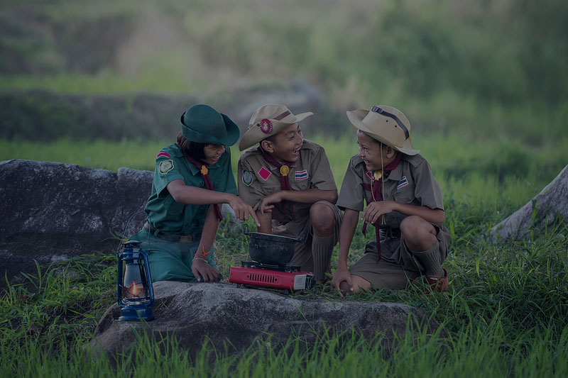 boy scouts laughing